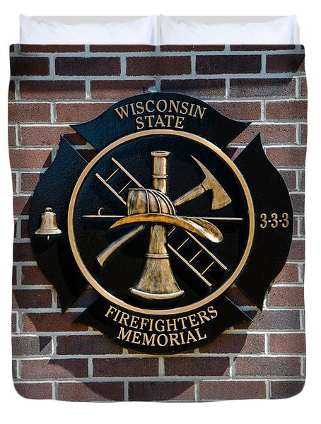 Duvet Cover featuring the photograph Wisconsin State Firefighters Memorial Park 5 by Susan  McMenamin
