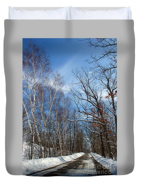 Wisconsin Winter Road Duvet Cover