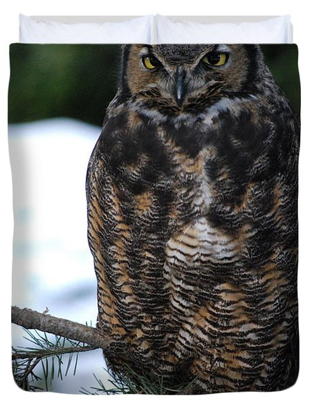 Duvet Cover featuring the photograph Wise Old Owl by Sharon Elliott