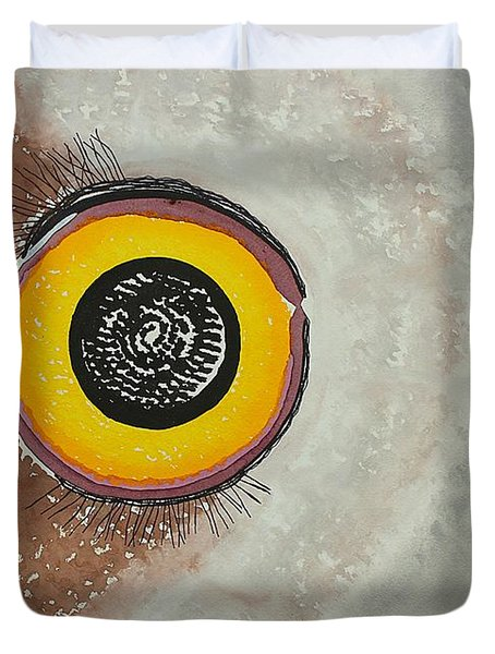 Wise Owl Original Painting Duvet Cover by Sol Luckman