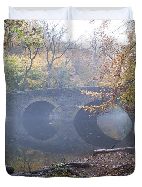 Wissahickon Creek And Bells Mill Road Bridge Duvet Cover by Bill Cannon