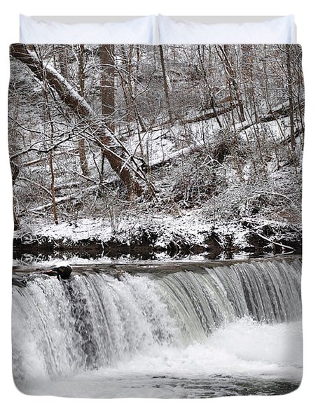 Wissahickon Waterfall In Winter Duvet Cover by Bill Cannon