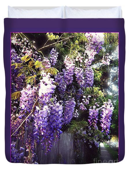 Duvet Cover featuring the photograph Wisteria Dreaming by Leanne Seymour