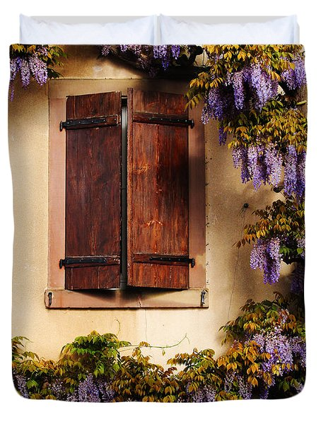 Wisteria Encircling Shutters In Riquewihr France Duvet Cover by Greg Matchick