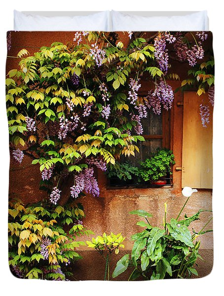 Wisteria On Home In Zellenberg France Duvet Cover by Greg Matchick