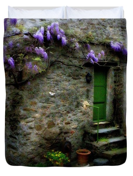 Wisteria On Stone House Duvet Cover by Lainie Wrightson