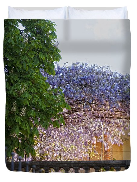Duvet Cover featuring the photograph Wisteria by Raffaella Lunelli