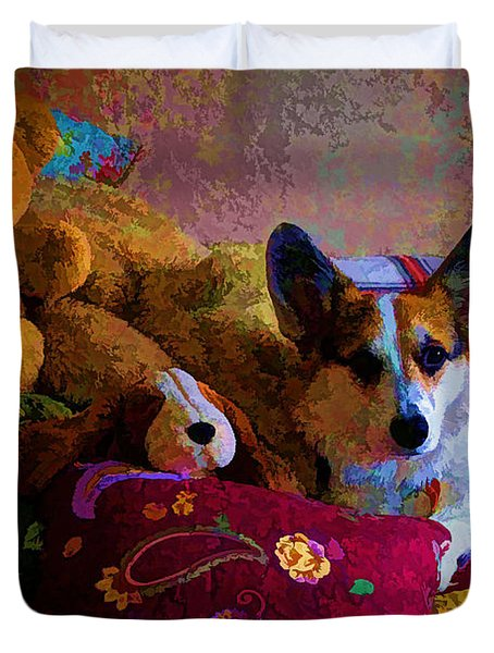 With His Friends On The Bed Duvet Cover by Mick Anderson