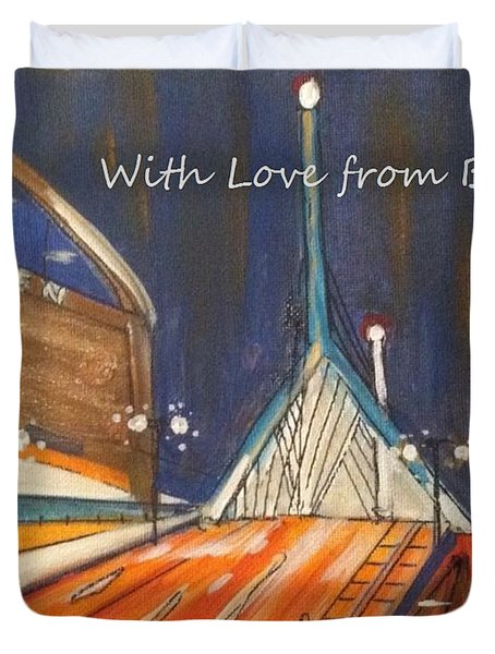 With Love From Boston Duvet Cover