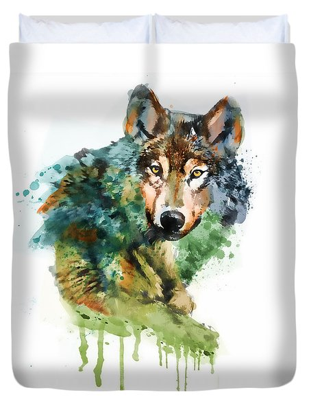 Wolf Face Watercolor Duvet Cover