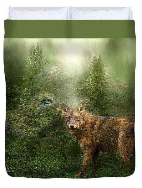 Wolf - Forest Spirit Duvet Cover by Carol Cavalaris
