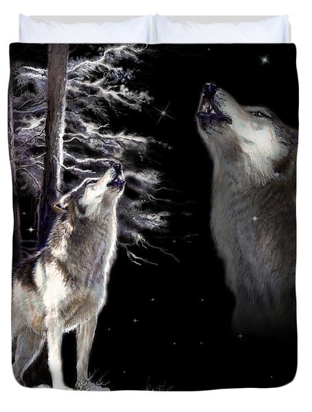 Wolf  Howling Memory Duvet Cover