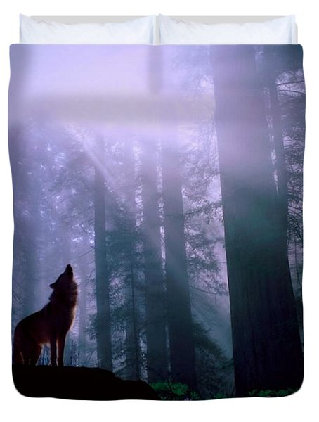 Wolf In The Woods Duvet Cover