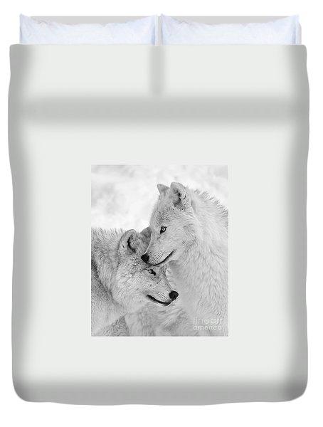 Wolf Love Black And White Duvet Cover