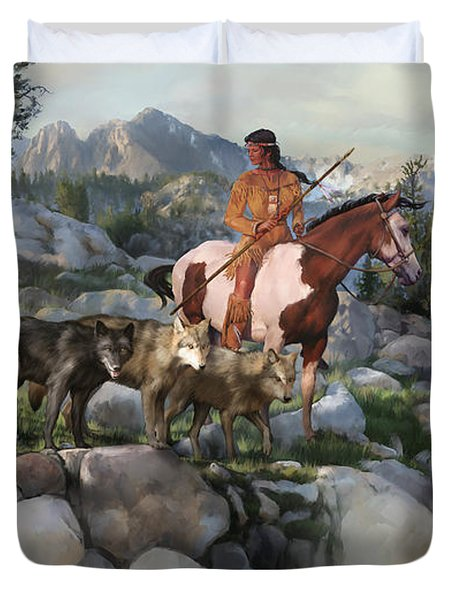 Duvet Cover featuring the painting Wolf Maiden by Rob Corsetti
