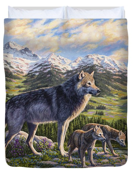 Wolf Painting - Passing It On Duvet Cover by Crista Forest