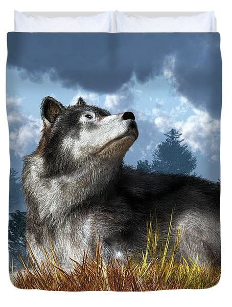 Wolf Resting In Grass Duvet Cover