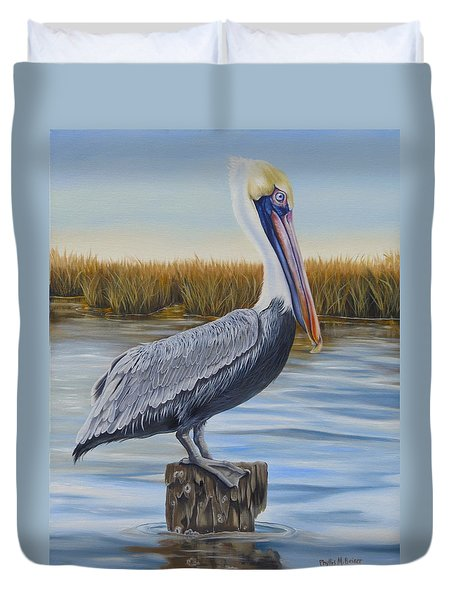 Duvet Cover featuring the painting Wolf River Pelican by Phyllis Beiser