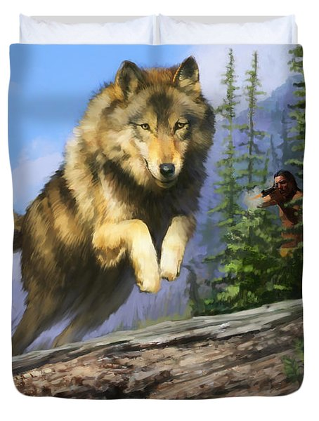 Duvet Cover featuring the painting Wolf Run Indian Hunter by Rob Corsetti