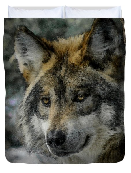 Wolf Upclose Painterly Duvet Cover by Ernie Echols