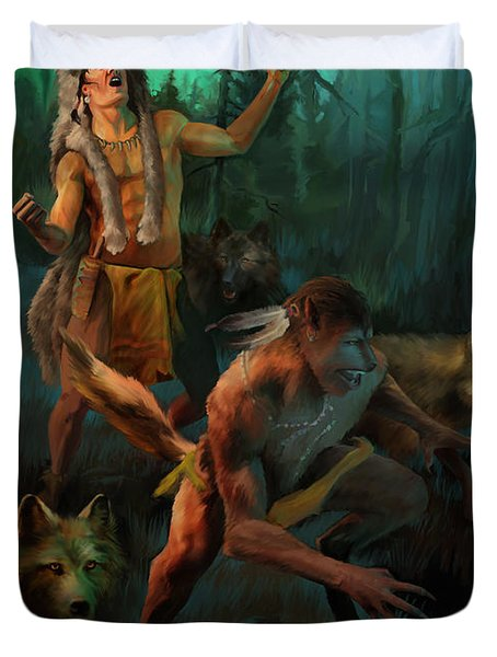 Duvet Cover featuring the painting Wolf Warriors Change by Rob Corsetti