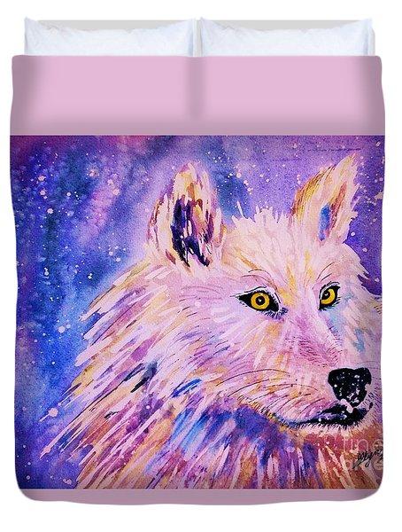 Wolf  - White Wolf  - Aurora Nights Duvet Cover