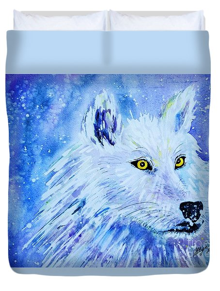 Wolf - White Wolf - Aurora Nights In Blues Duvet Cover