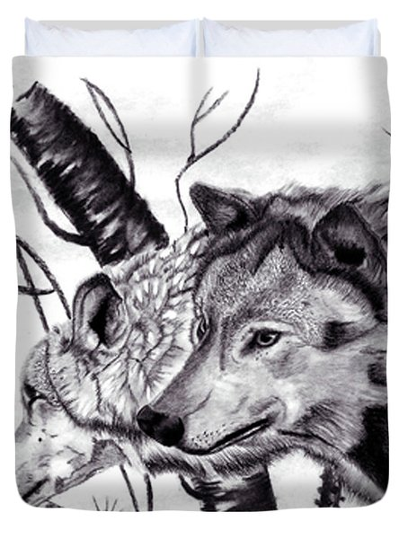 Duvet Cover featuring the drawing Wolves by Mayhem Mediums