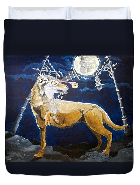 Duvet Cover featuring the painting Wolves Mouth  by Lazaro Hurtado
