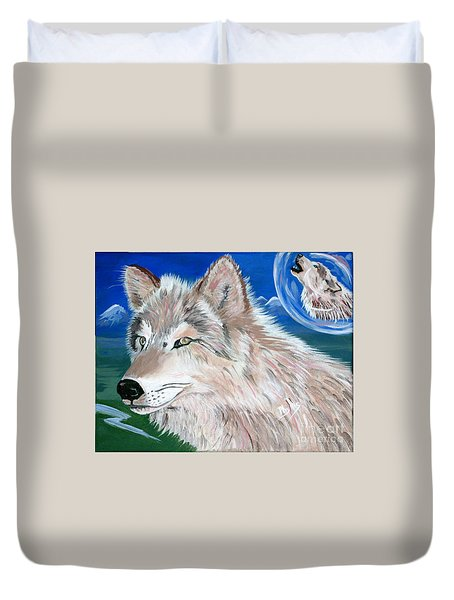 Duvet Cover featuring the painting Wolves by Phyllis Kaltenbach