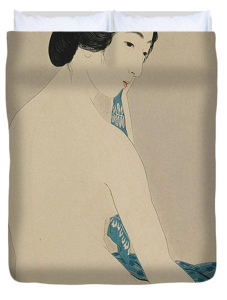 Woman After A Bath Taisho Era Duvet Cover by Goyo Hashiguchi