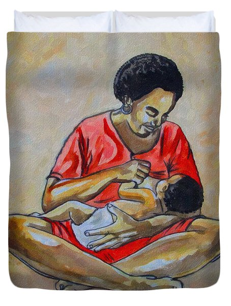Duvet Cover featuring the drawing Woman And Child by Anthony Mwangi