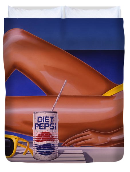 Woman At Beach With Diet Pepsi Duvet Cover
