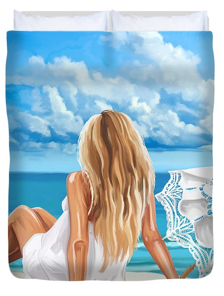 Woman At The Beach Duvet Cover by Tim Gilliland