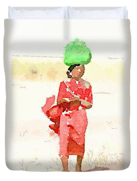 Woman Bag Duvet Cover