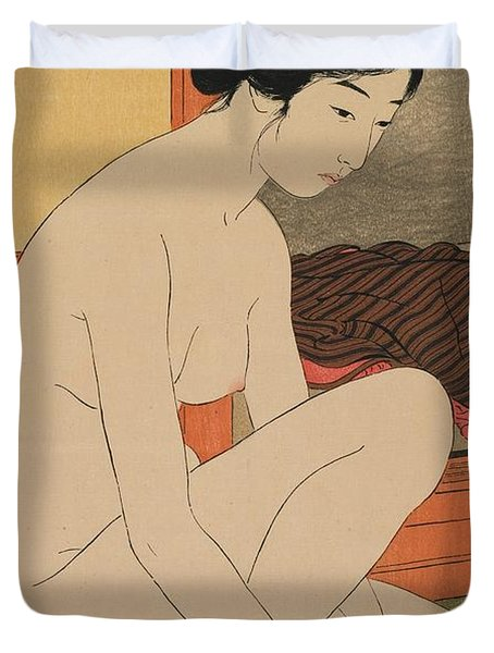 Woman Bathing Taisho Era Duvet Cover