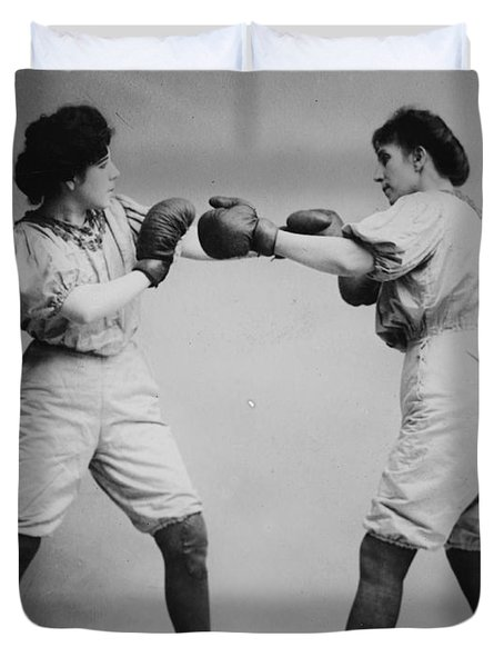 Woman Boxing Duvet Cover by Bill Cannon