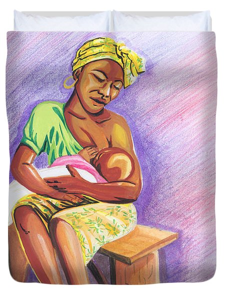 Woman Breastfeeding Bay In Rwanda Duvet Cover by Emmanuel Baliyanga
