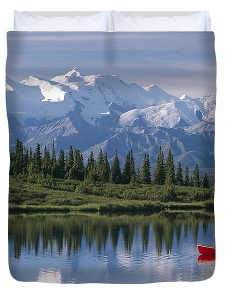 Woman Canoeing In Wonder Lake Alaska Duvet Cover by Michael DeYoung