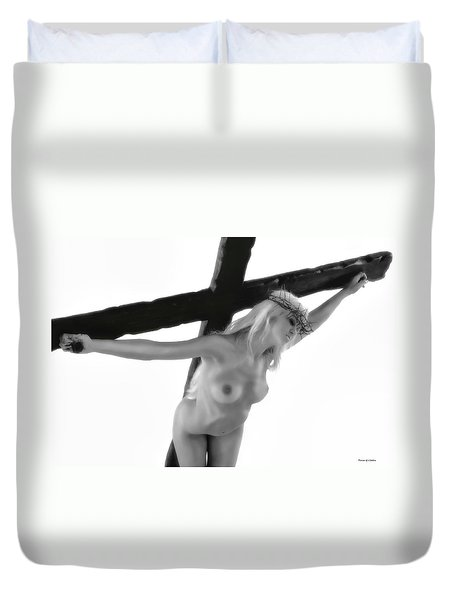 Woman Crucified Duvet Cover by Ramon Martinez