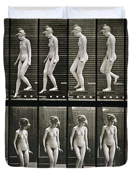 Woman Descending Steps Duvet Cover by Eadweard Muybridge