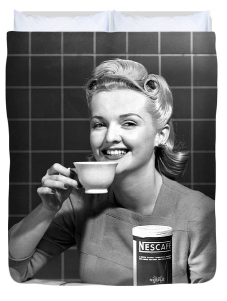 Woman Drinking Nescafe Duvet Cover by Underwood Archives