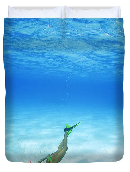 Woman Free Diving Duvet Cover by M Swiet Productions