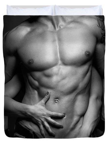 Woman Hands Touching Muscular Man's Body Duvet Cover