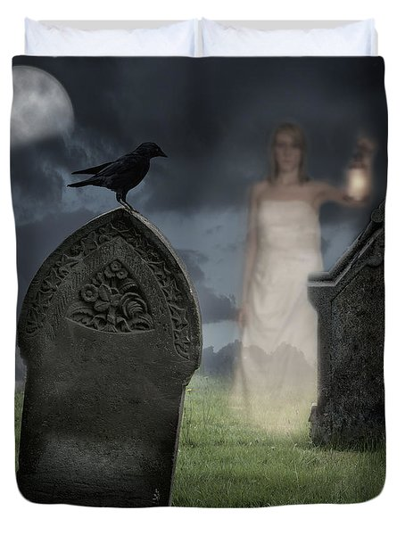 Woman Haunting Cemetery Duvet Cover by Amanda Elwell