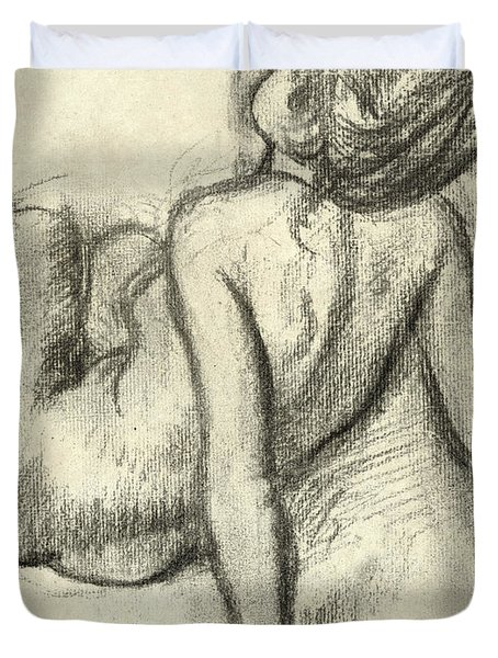 Woman Having Her Hair Styled Duvet Cover