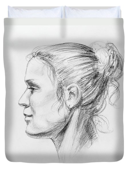 Woman Head Study Duvet Cover