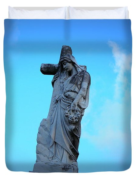 Woman Holding Cross Duvet Cover by Beth Vincent