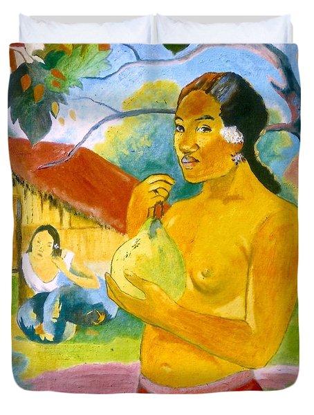 Woman Holding Fruit Duvet Cover