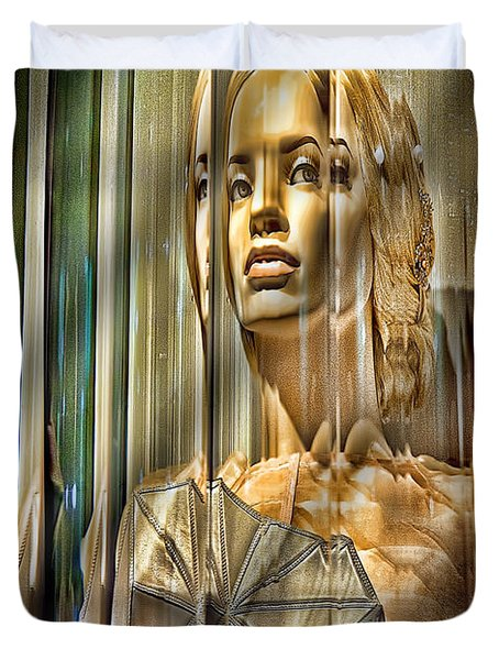 Woman In Glass Duvet Cover